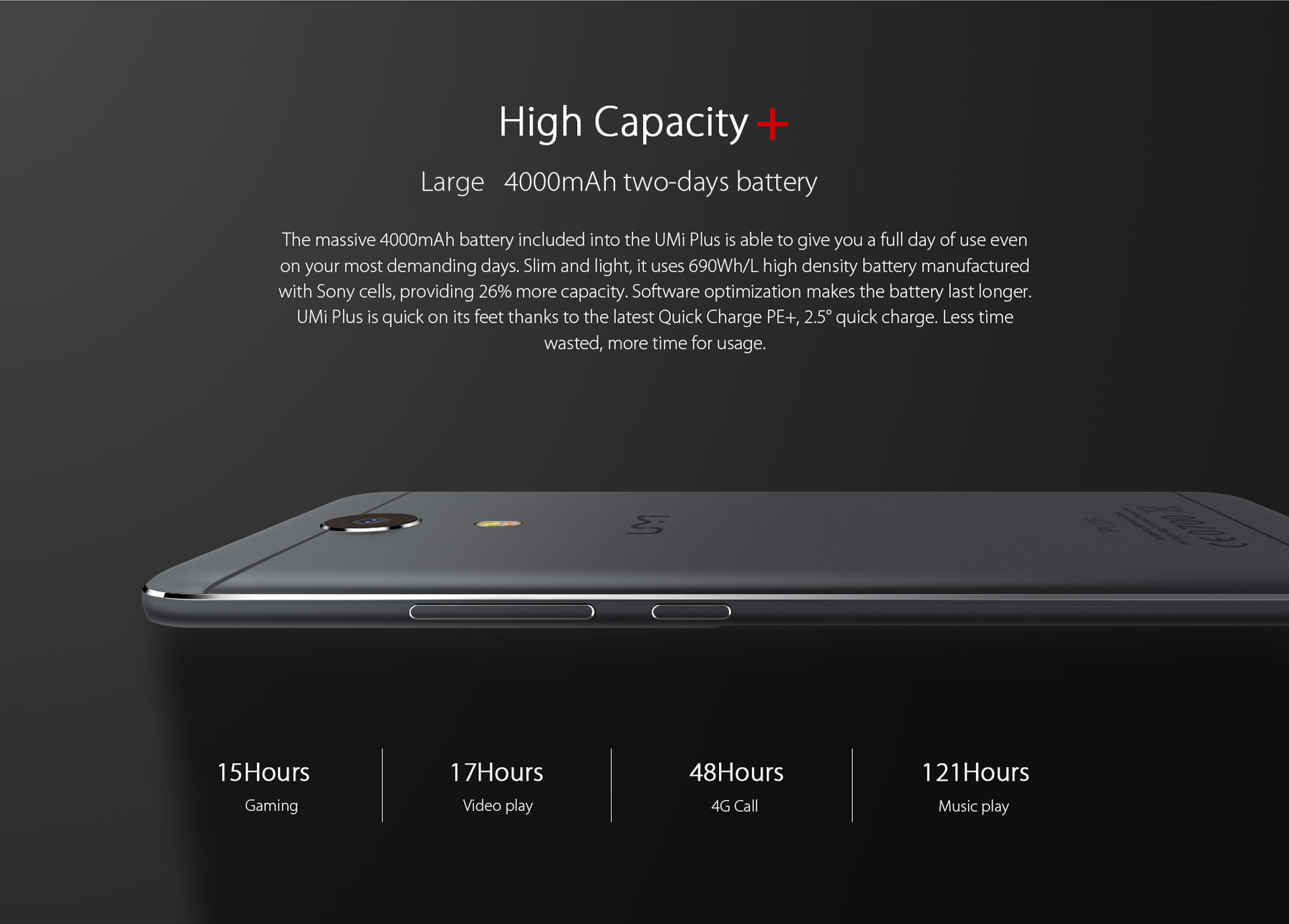 Umi Plus 5.5 inch Android 6.0 4G Phablet Helio P10 Octa Core 1.8GHz 4GB RAM 32GB ROM Fingerprint Scanner Two-tone Flashlight Type-C HiFi