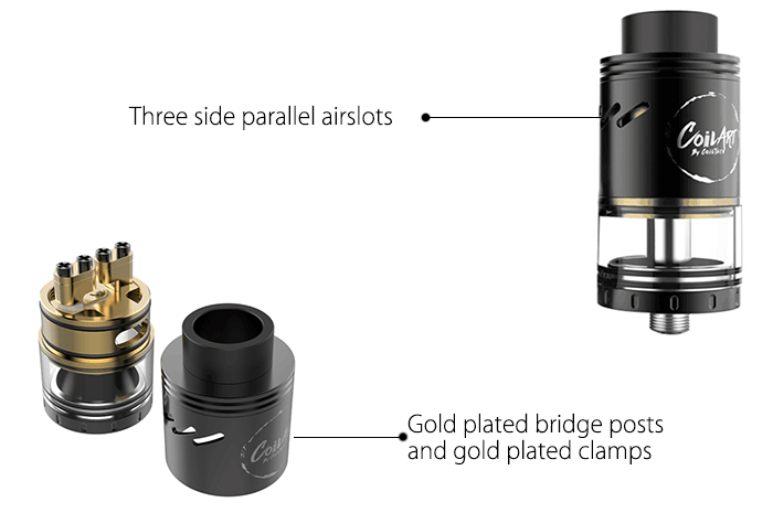 Original CoilART AZEROTH RDTA with 4ml Tank Capacity / Side Adjustable Airflow / Gold-plated Deck for E Cigarette