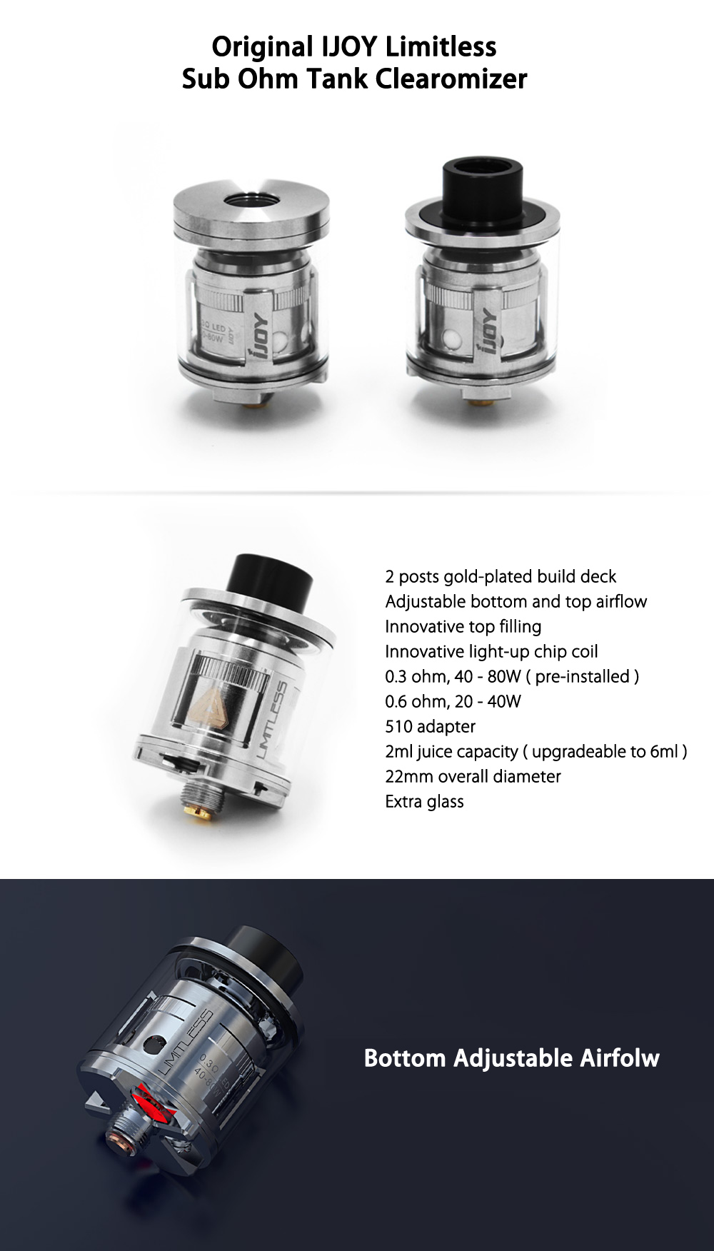 Original IJOY Limitless Sub Ohm Tank with 22mm / 2ml / 0.3 ohm / 0.6 ohm / Top Filling System / Light-up Chip Coil Clearomizer  for E Cigarette