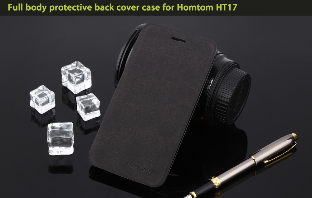 OCUBE PU Leather Full Body Phone Protective Case with Foldable Stand for Homtom HT17