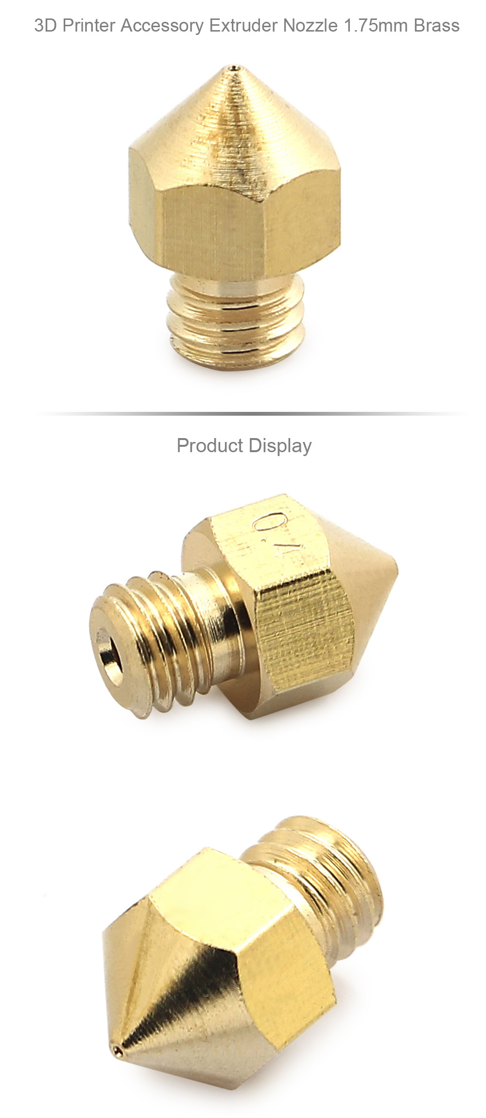 3D Printer Accessory Extruder Nozzle 1.75mm Brass