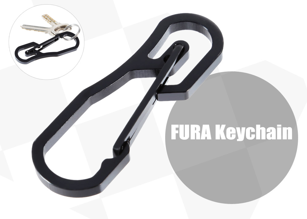 FURA Outdoor 440C Stainless Steel Keychain Carabiner with Ring