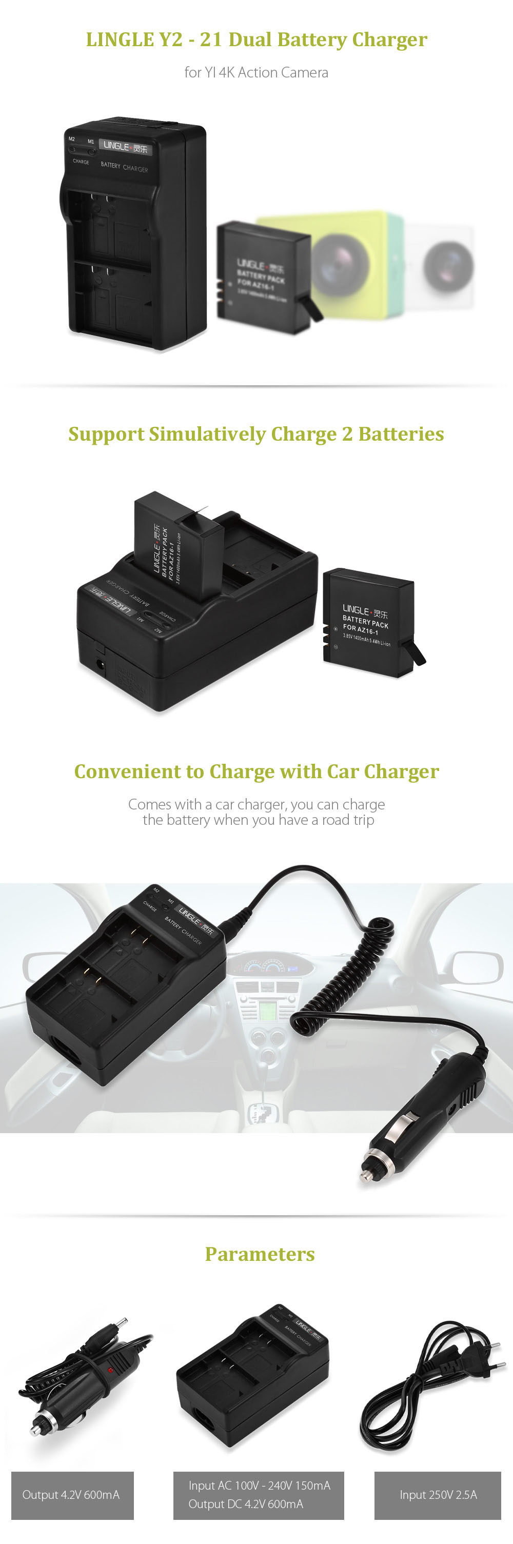 LINGLE Y2 - 21 Dual Battery Charger with US Power Adapter Car Charger for YI II