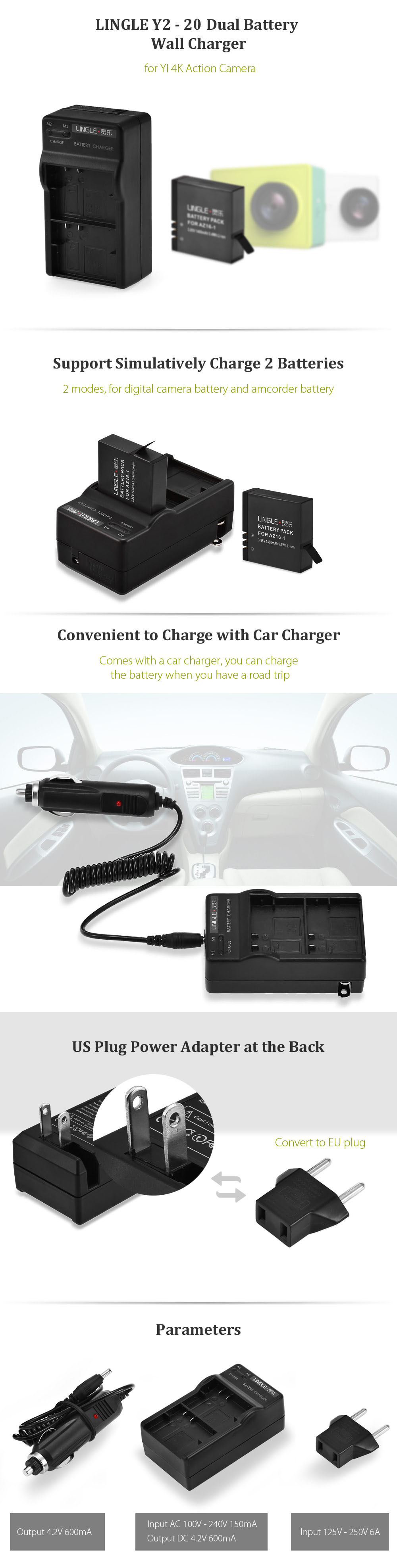 LINGLE Y2 - 20 Dual Battery Charger with US Power Adapter Car Charger for YI II