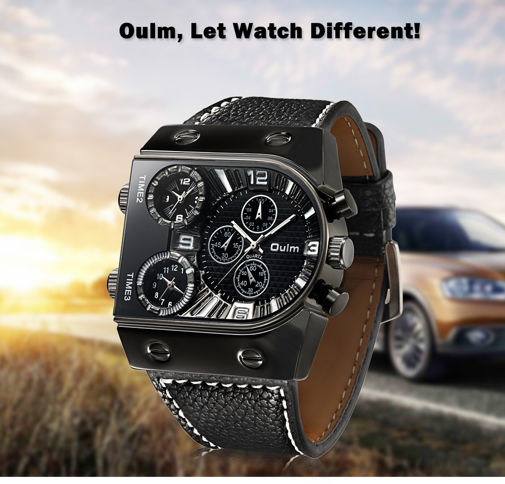 OULM Military Sports Watch Multiple Time Zones Leather ...