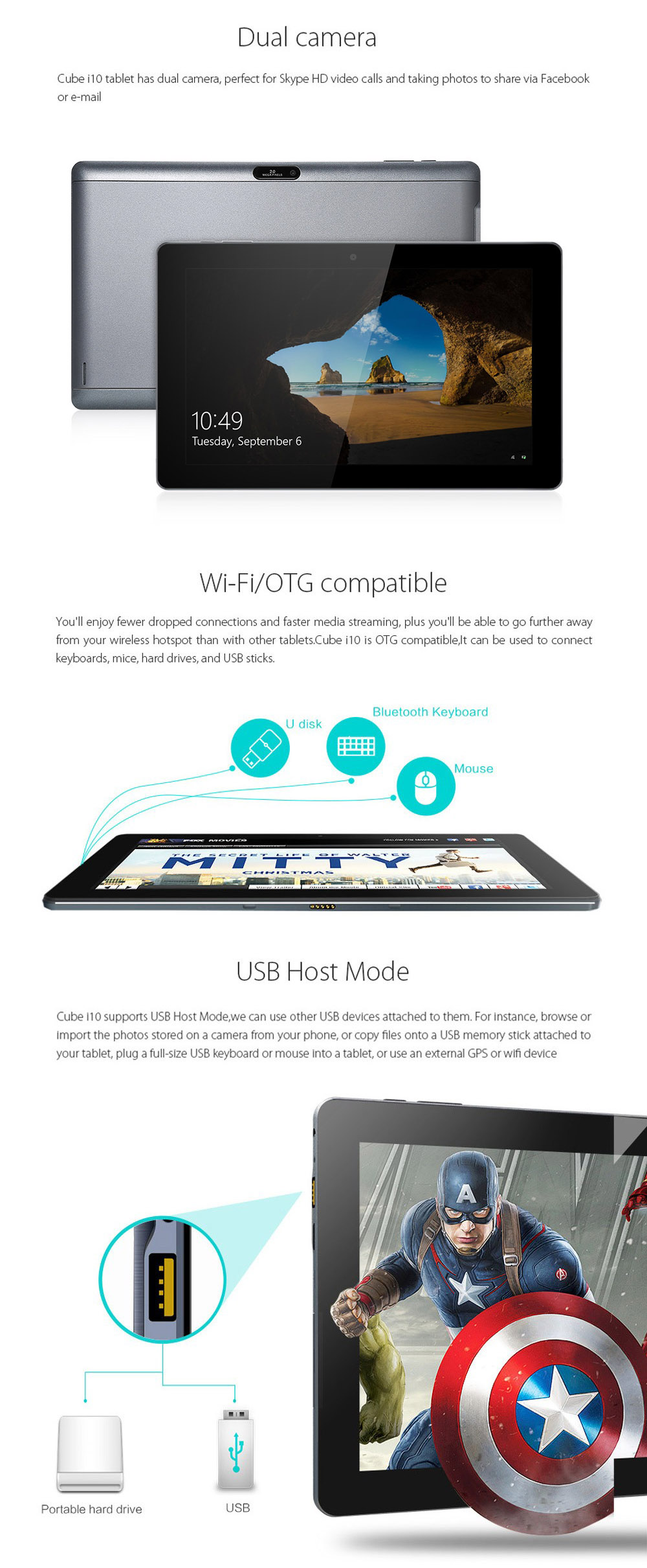 10.6 inch Cube I10 Android4.4 + Win10 Ultrabook Tablet PC Intel Z3735F Quad Core 1.8GHz 1366 X 768 IPS Screen 2GB RAM 32GB ROM WiFi HDMI OTG Functions