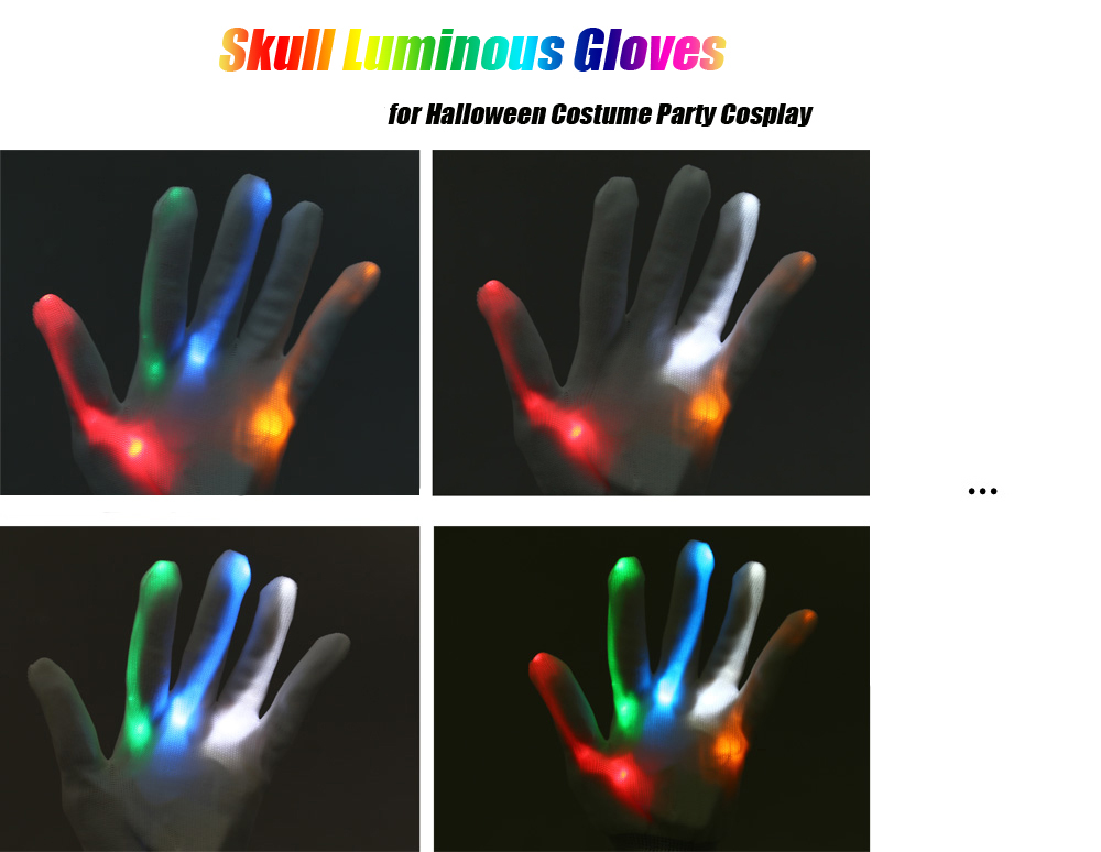 Skull Luminous Gloves for Halloween Costume Party Cosplay