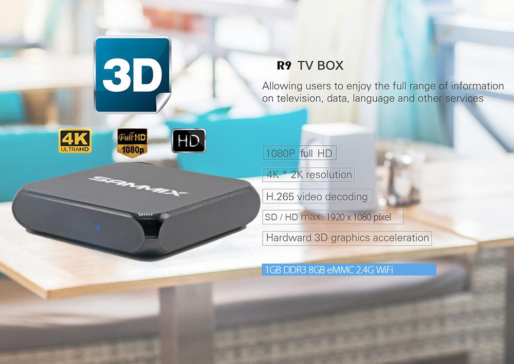 SAMMIX R9 Android Smart Box Quad Core 1GB DDR3 Rockchip RK3229 Quad Cortex-A7 1.2GHz 32Bit Mini PC