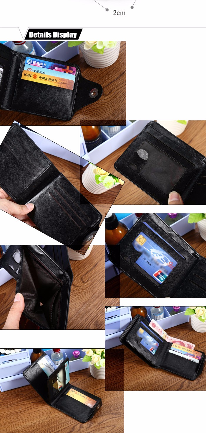 Men Stylish PU Wallet Solid Color Money Clip with Hasp Design