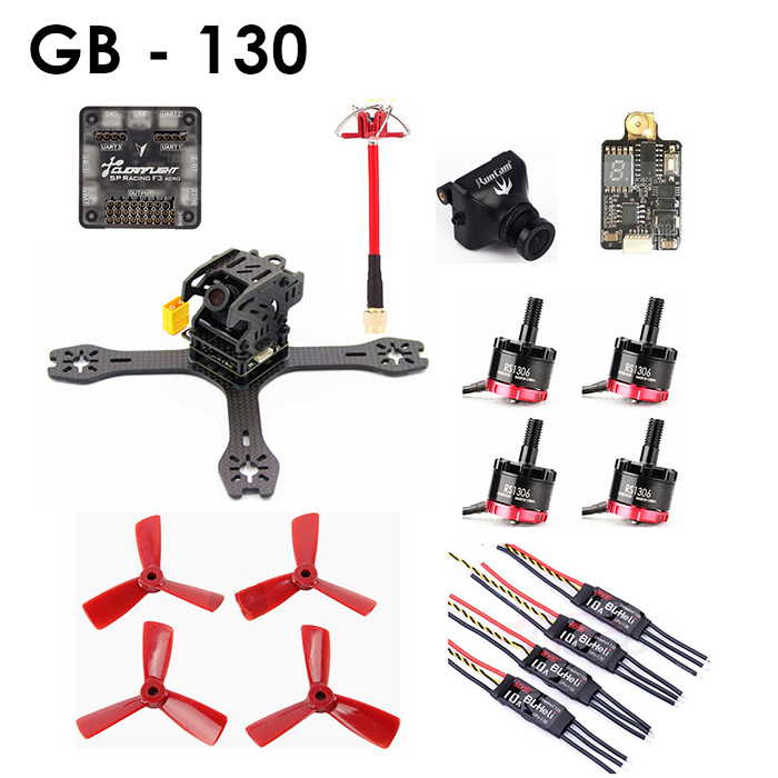 GB - 130 Carbon Fiber DIY Frame Kit RC Racing Drone with EMAX RS1306 Motor / DYS 10A ESC / SP Racing F3 ACRO 6DOF FC / TS5813 Transmitter