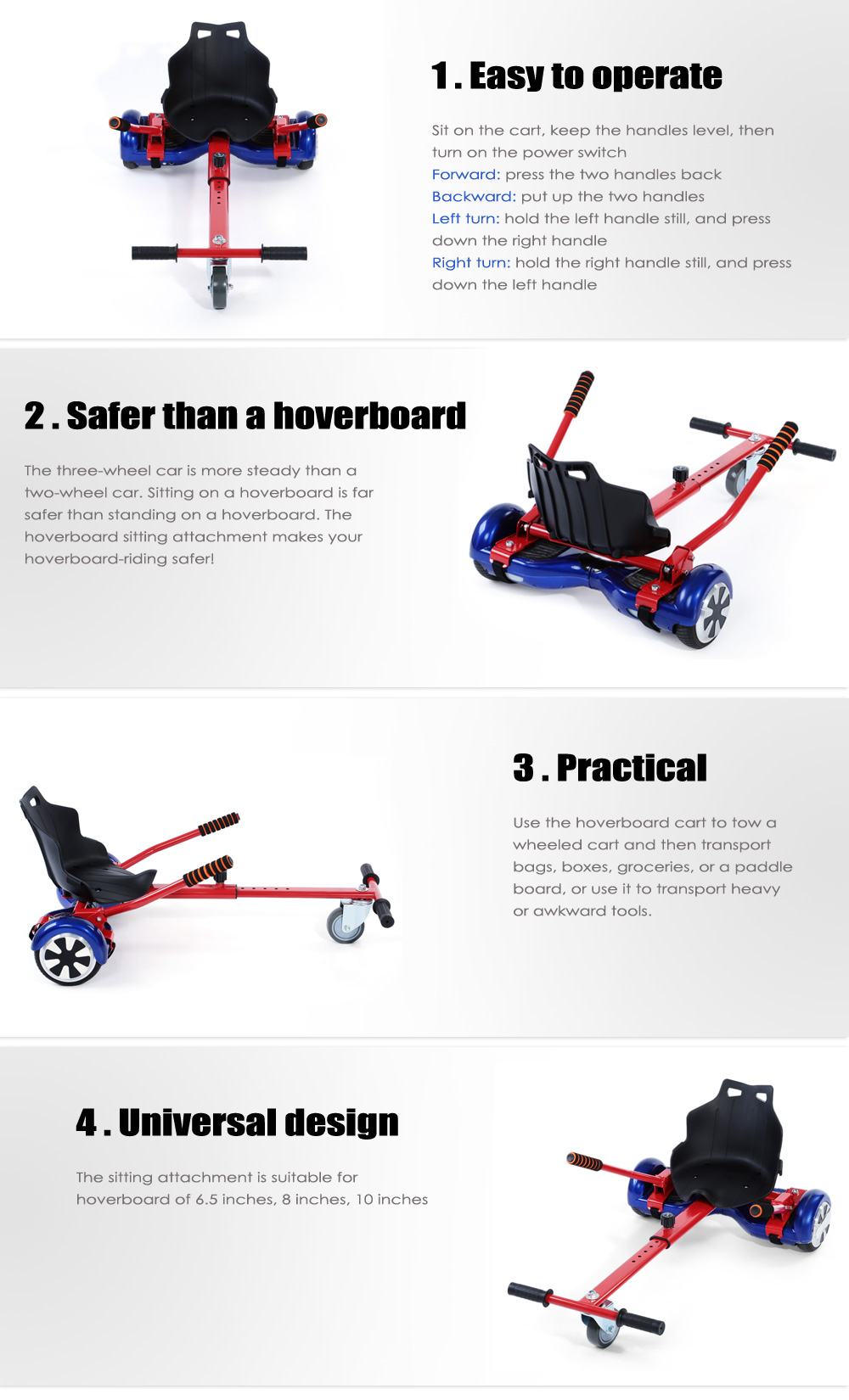Hoverboard Kart Sitting Attachment Self Balancing Scooter Cart - Scooter Is Not Included