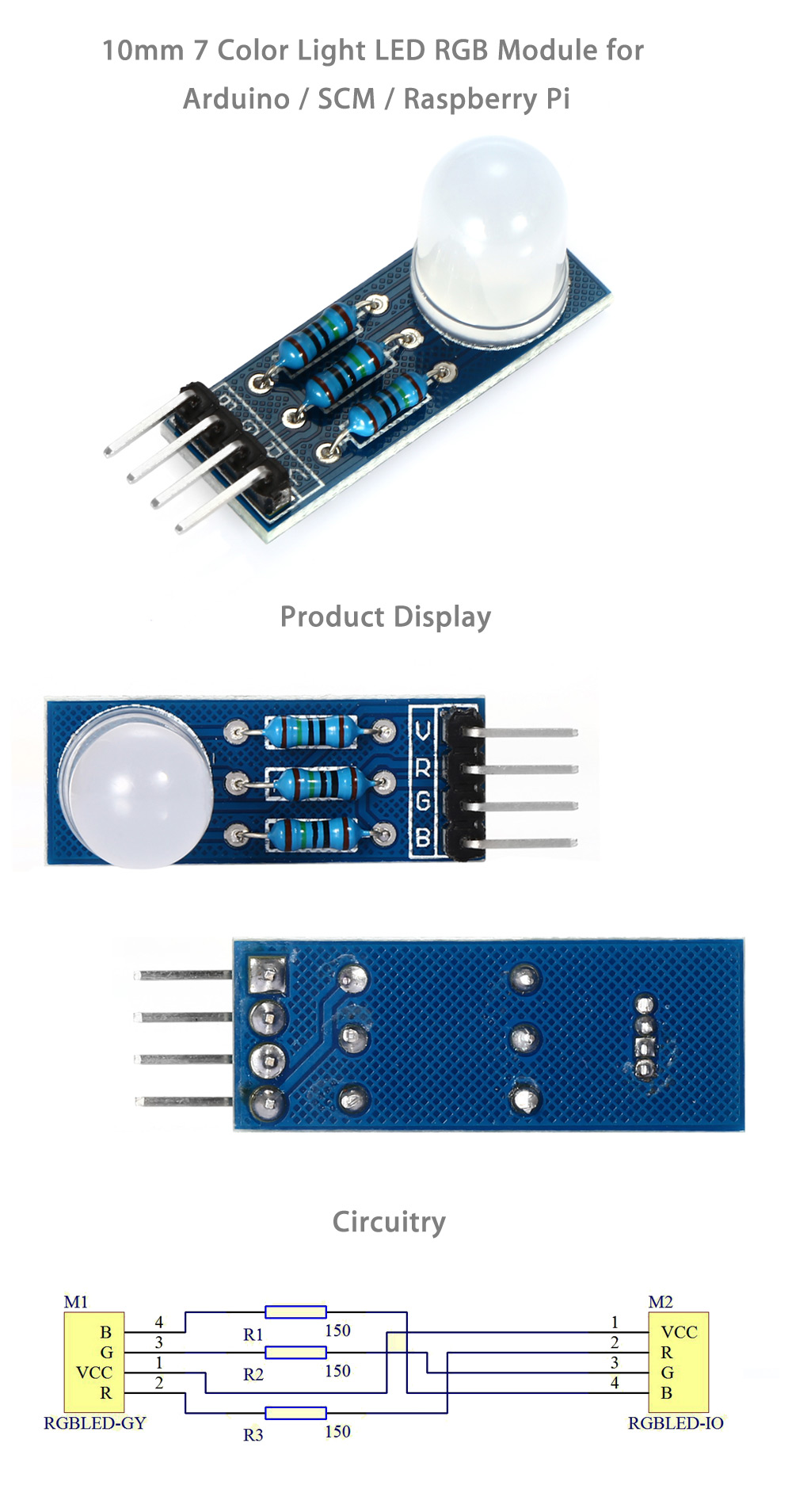 LDTR - B00010 DIY 10mm High Brightness LED RGB Module with 7 Color Light