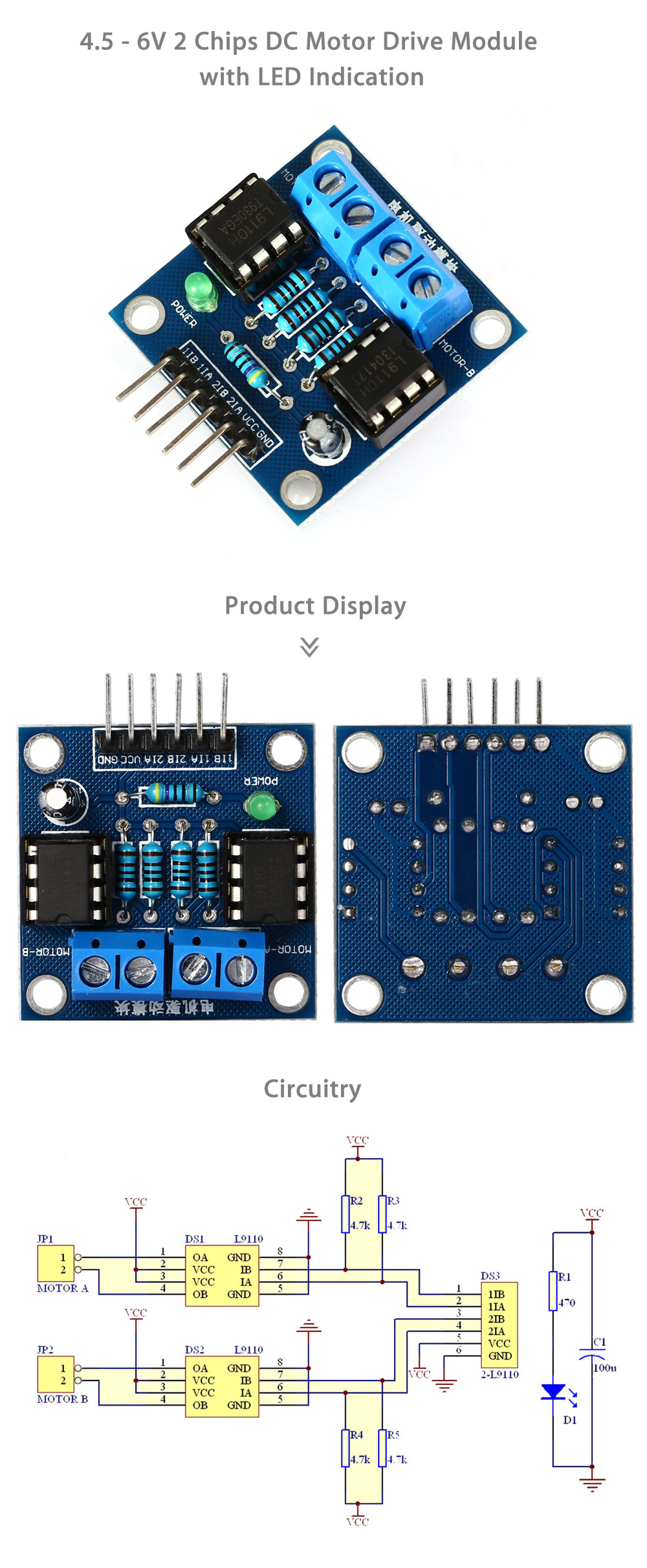 LDTR - B0007 4.5 - 6V 2 Chips DC Motor Drive Module with LED Indication