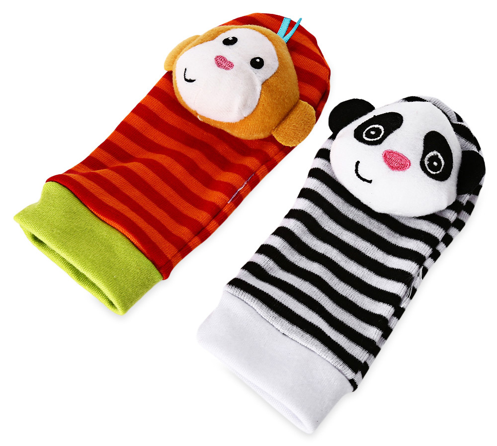 Animal Style Rattle Foot Finder Baby Infant Sock Soft Toy - 1pair