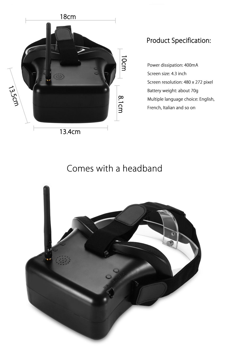 RC - 007 40CH 5.8G Wireless Video Goggles 480 x 272 FPV Headset Glasses with 4.3 inch Monitor