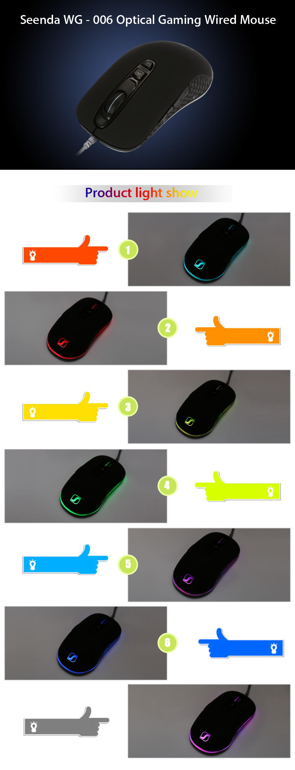 Seenda WG - 006 Optical Gaming Wired Mouse 4000 DPI with LED Backlight