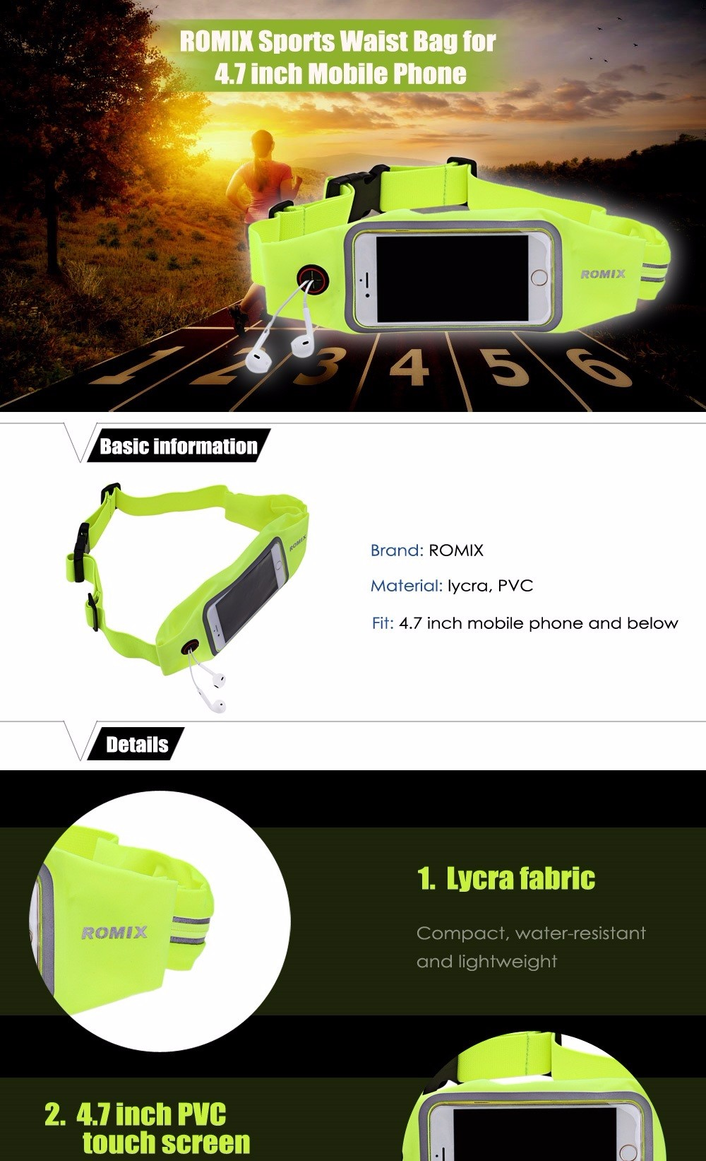 ROMIX RH16 - 4.7 Water-resistant Lycra Sports Waist Bag for 4.7 inch Mobile Phone