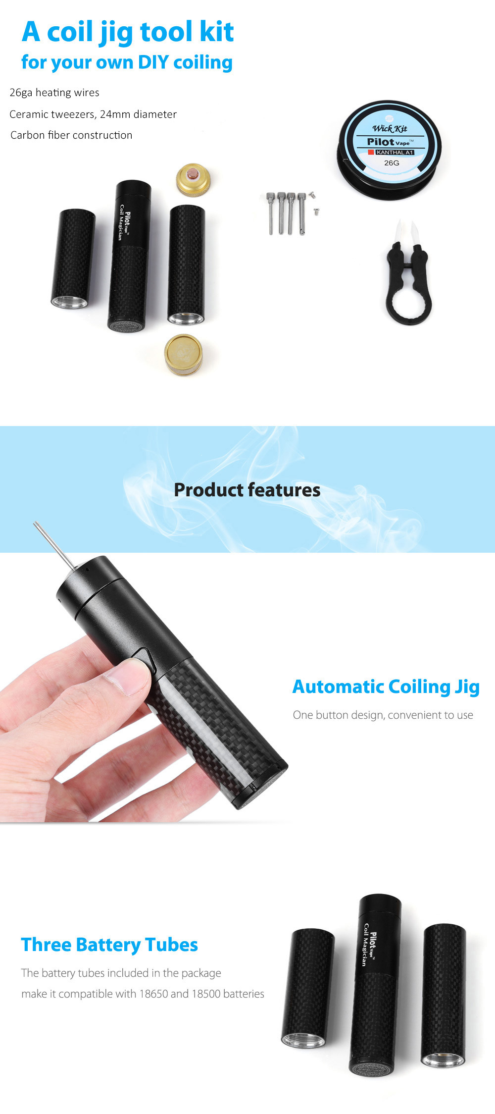 Original Pilot Vape Coil Magician DIY Tool Kit with Automatic Coil Jig / 18650 / 18500 Battery Tube / Heating Wire / Mechanical Mod Available for E Cigarette