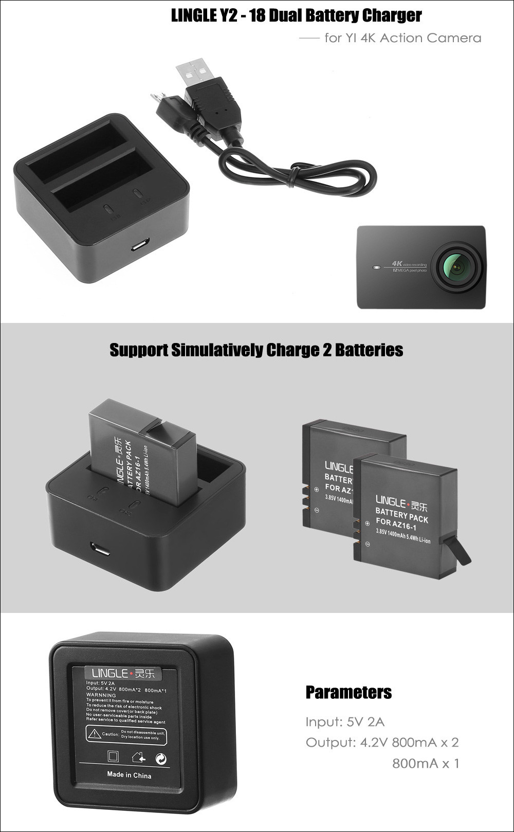 LINGLE Y2 - 18 Square Shaped Dual Battery Charger for YI 4K Action Camera