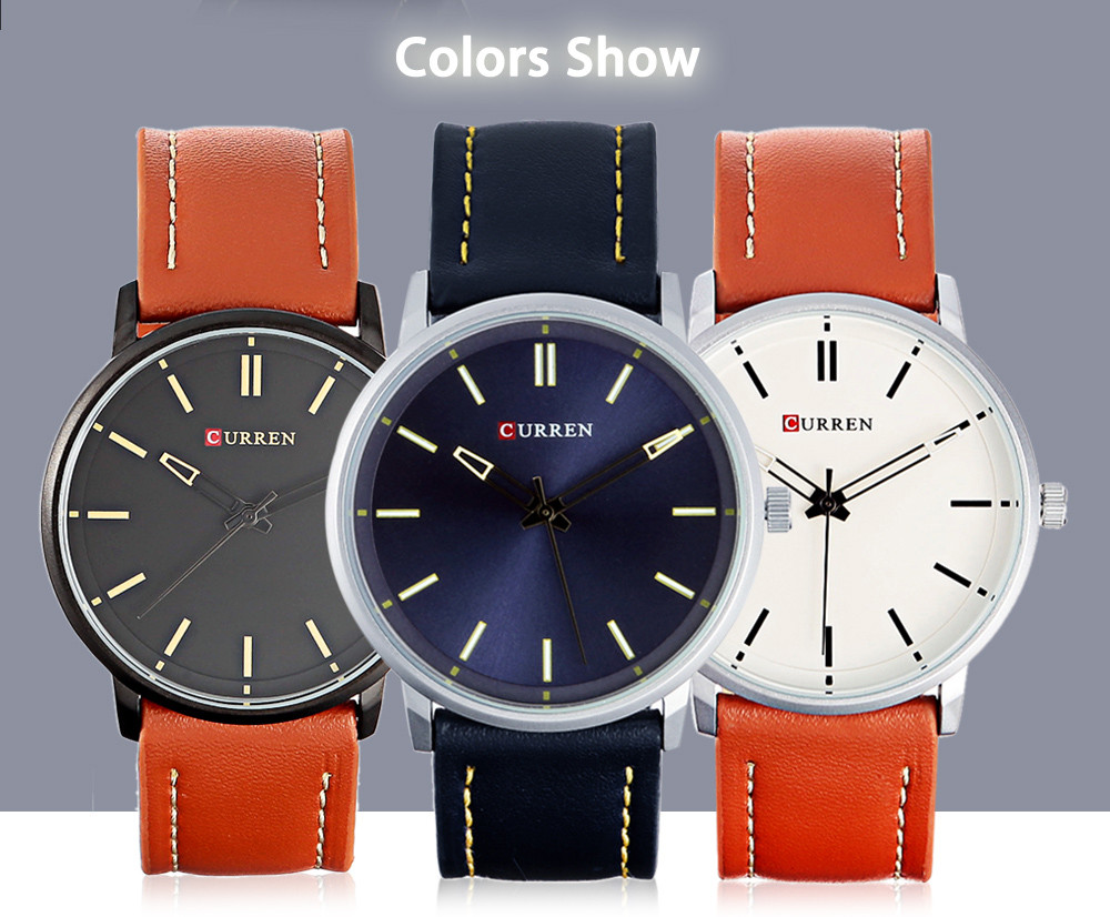 CURREN 8233 Casual Leather Strap Simple Nailed Scale Male Quartz Watch