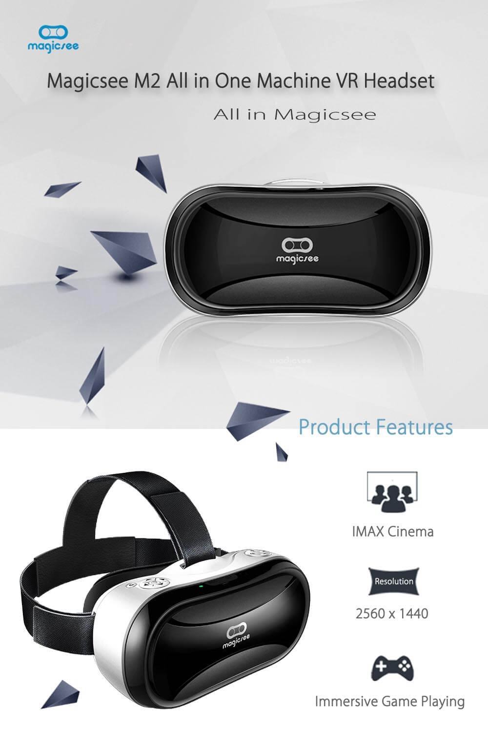 Magicsee M2 All in One Machine WiFi Bluetooth V4.0 Android 5.1 VR Headset