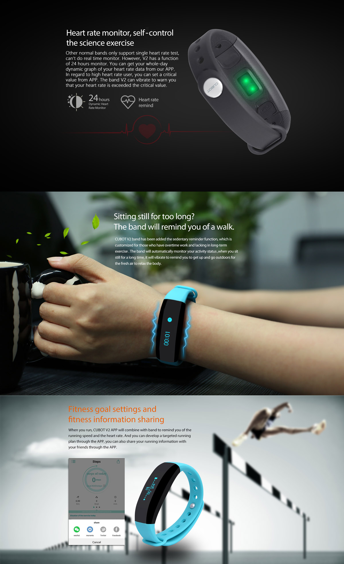 CUBOT V2 All-weather Heart Rate Monitor Smart Wristband ...
