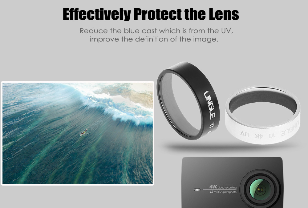 LINGLE Y2 - 09 Lens Protector UV Filter for YI Action Camera