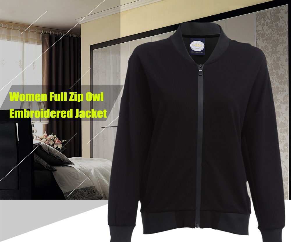 Women Full Zip Owl Embroidered Jacket