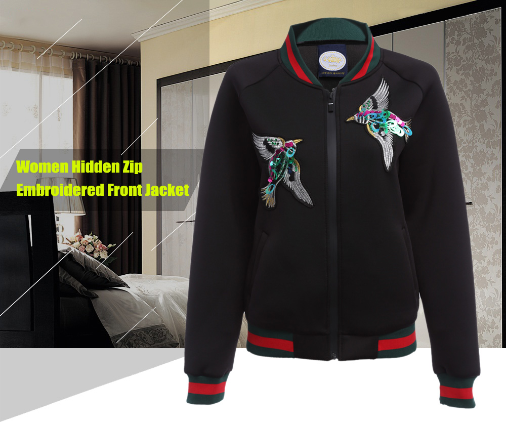 Women Hidden Zip Embroidered Front Jacket
