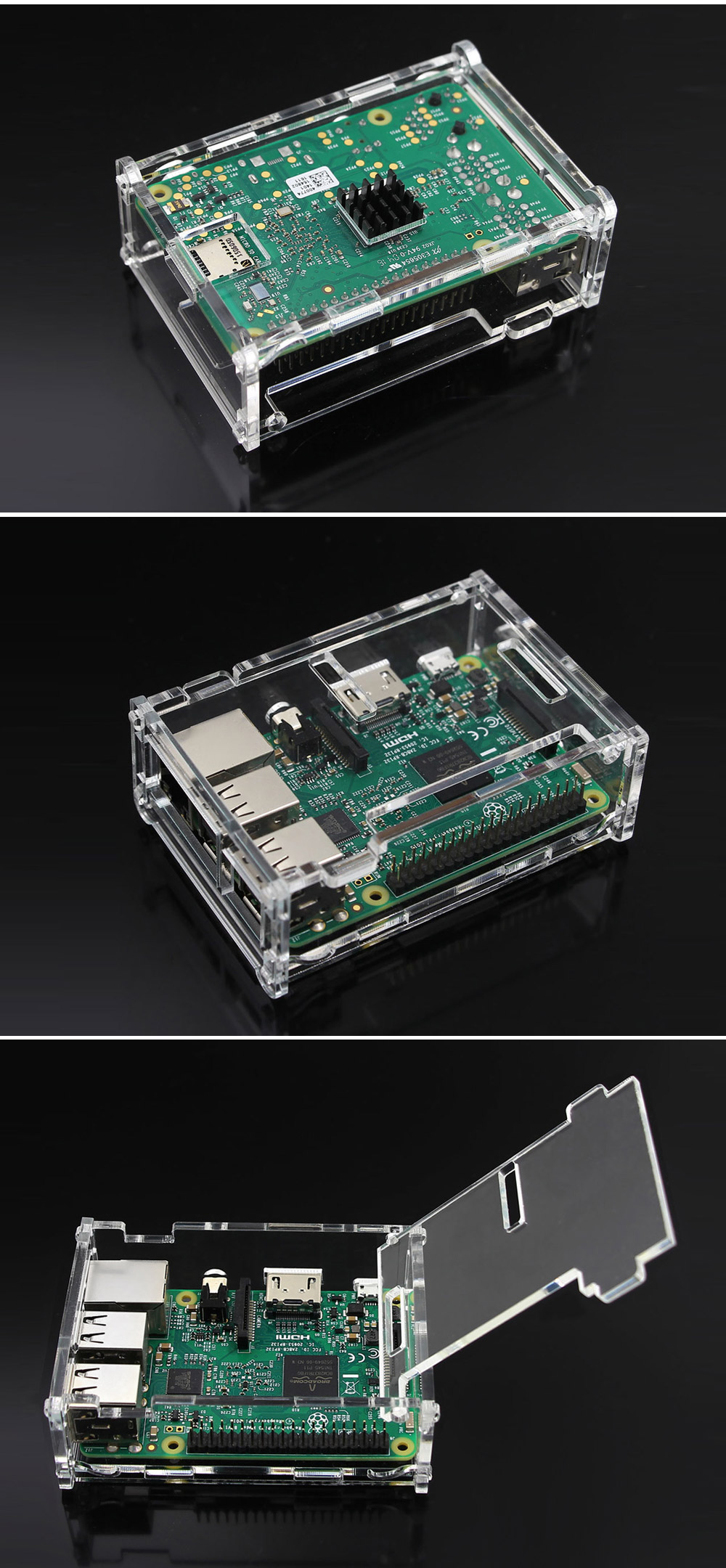 Protective Acrylic Case for Raspberry Pi 3B / 2B