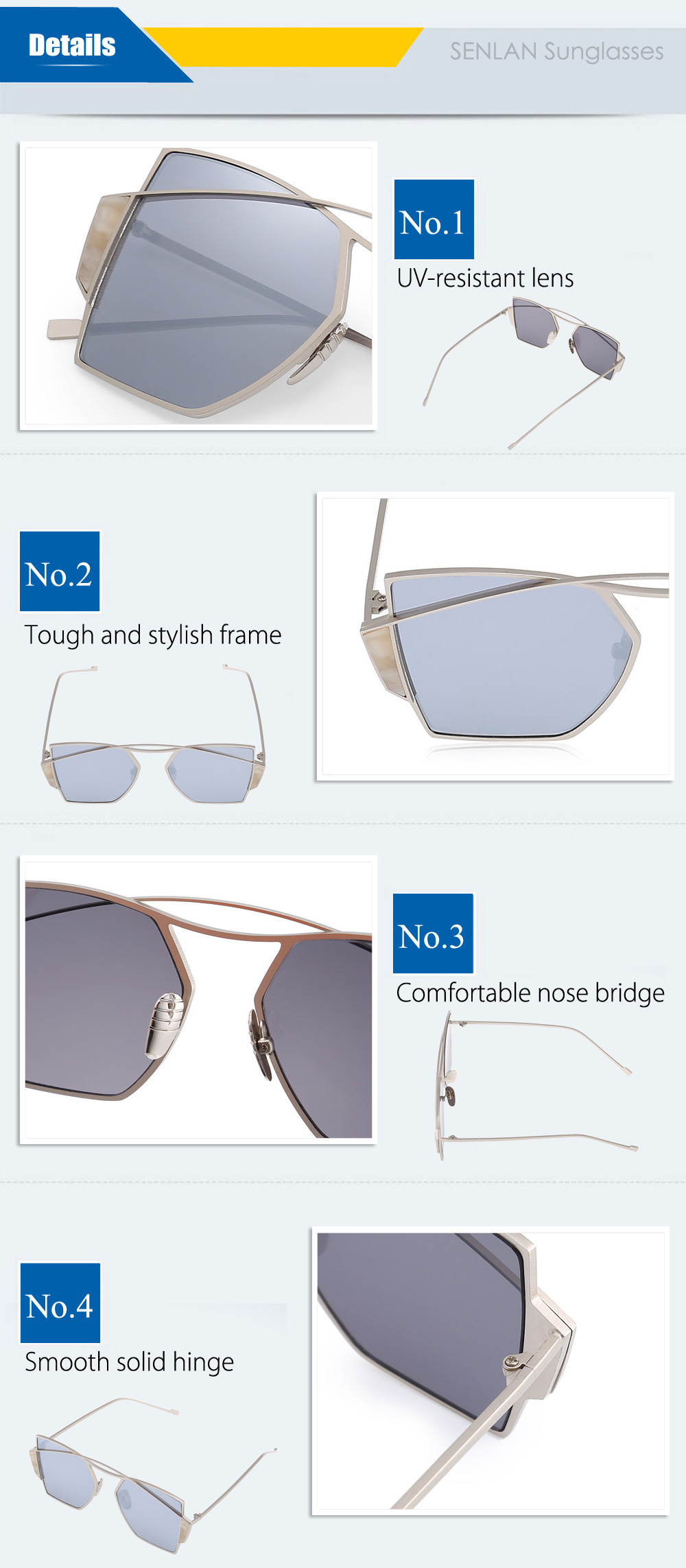 SENLAN 2109 UV-resistant Sunglasses with PC Lens
