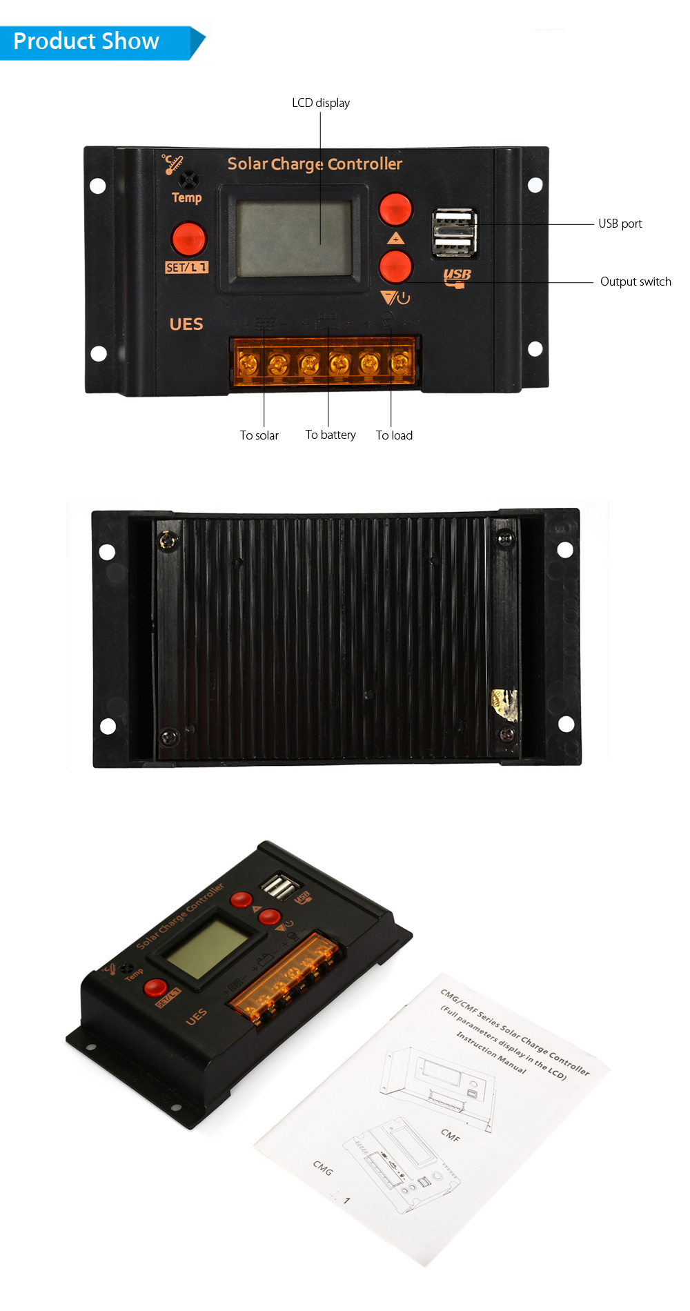 UEIUA UES - 2420 12V 20A Over Voltage Protection USB Solar Charger Controller LCD Display PWM Battery Regulator