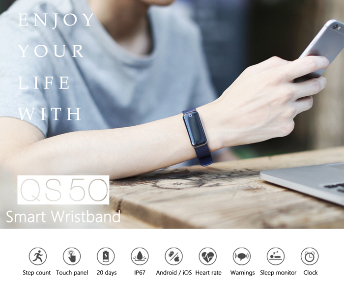 QS50 Heart Rate Monitor Smart Wristband Sleep Management Breath State