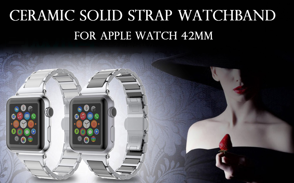 Ceramic Solid Links Watchband for Apple Watch 42mm Butterfly Clasp Stylish Strap Wristband Replacement