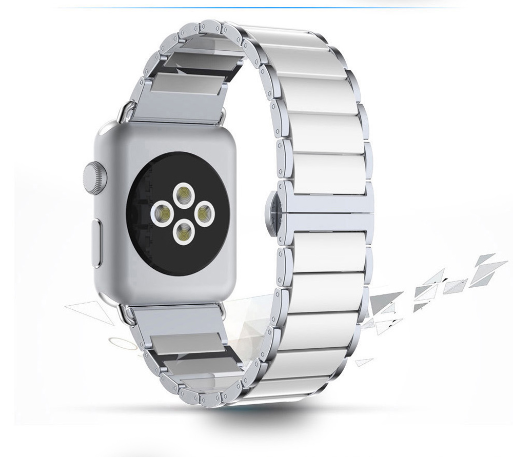 Ceramic Solid Links Watchband for Apple Watch 38mm Butterfly Clasp Stylish Strap Wristband Replacement