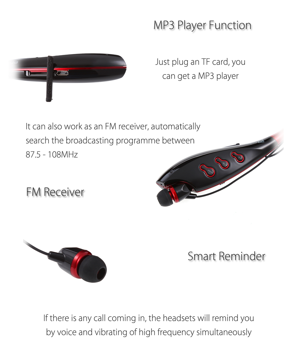 Haoer S745T Bluetooth V4.0 Stereo MP3 Headsets FM Receiver Light Weight Magnet