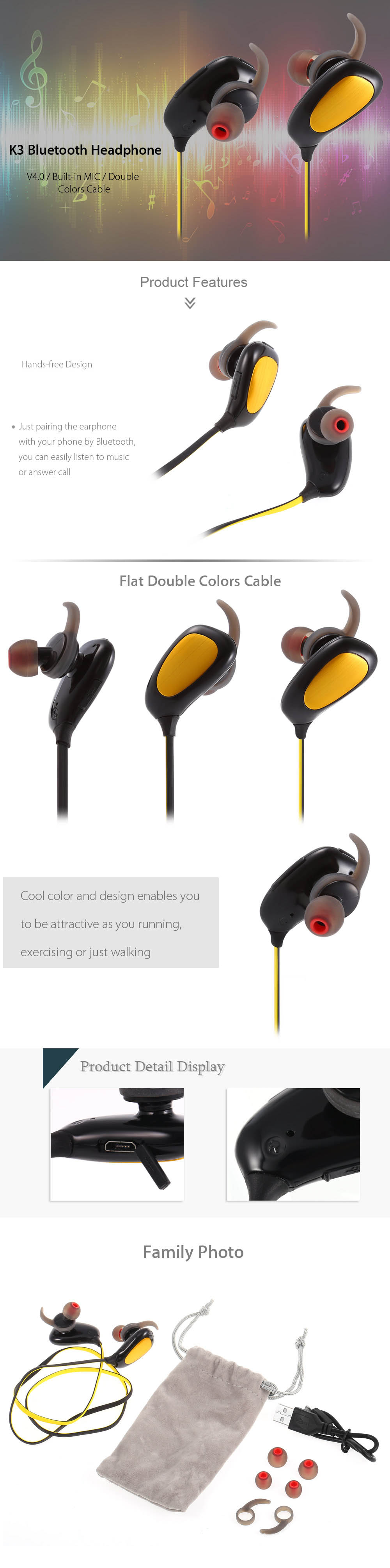 K3 Bluetooth V4.0 Sport Earbuds Double Colors Cable