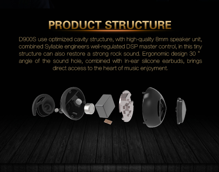 Syllable D900S Bluetooth V4.0 Wireless Earbuds In-ear Earphone with Mic