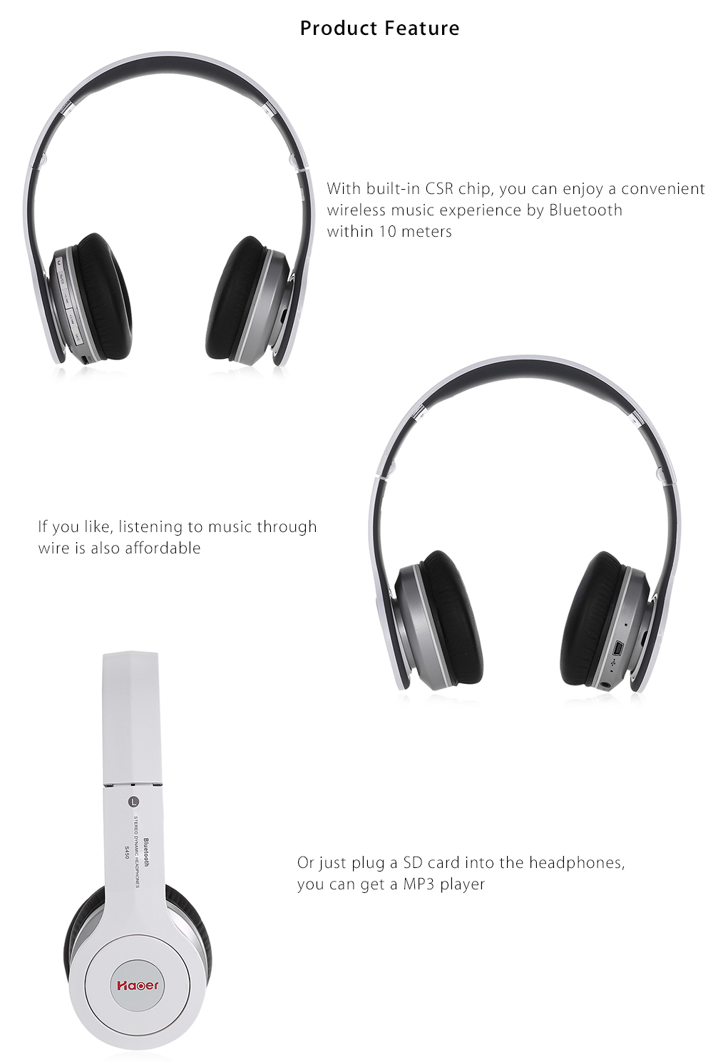Haoer S750 Wireless Bluetooth V4.1 Foldable Over-ear Headphones Noise Reduction FM Receiver