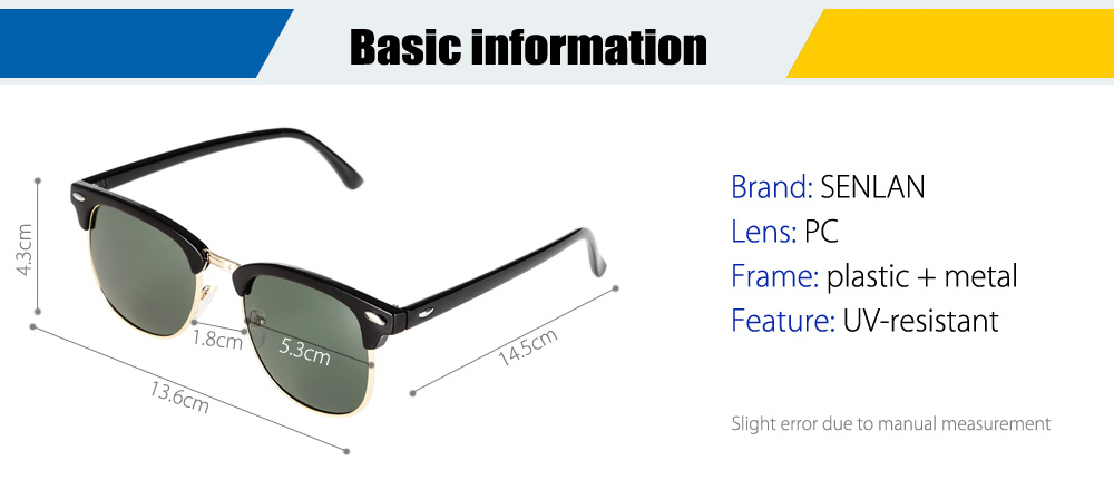 SENLAN 3016 UV-resistant Sunglasses with PC Lens