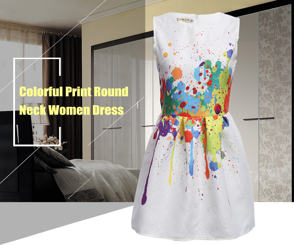 Colorful Print Round Neck Women Dress