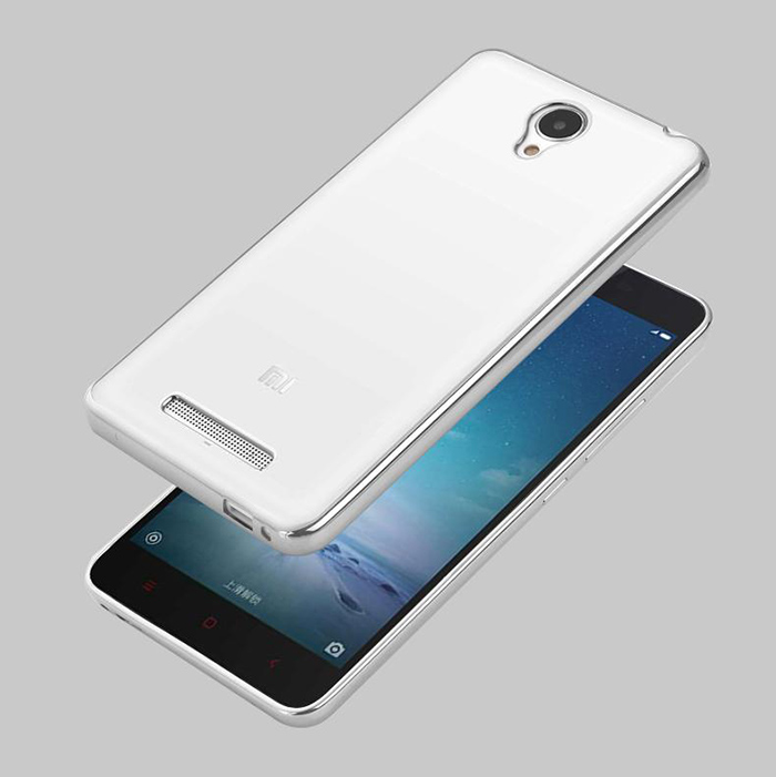 Luanke TPU Soft Protective Case for Xiaomi Redmi Note 2 Ultrathin Transparent Style Shell with Electroplated Edge