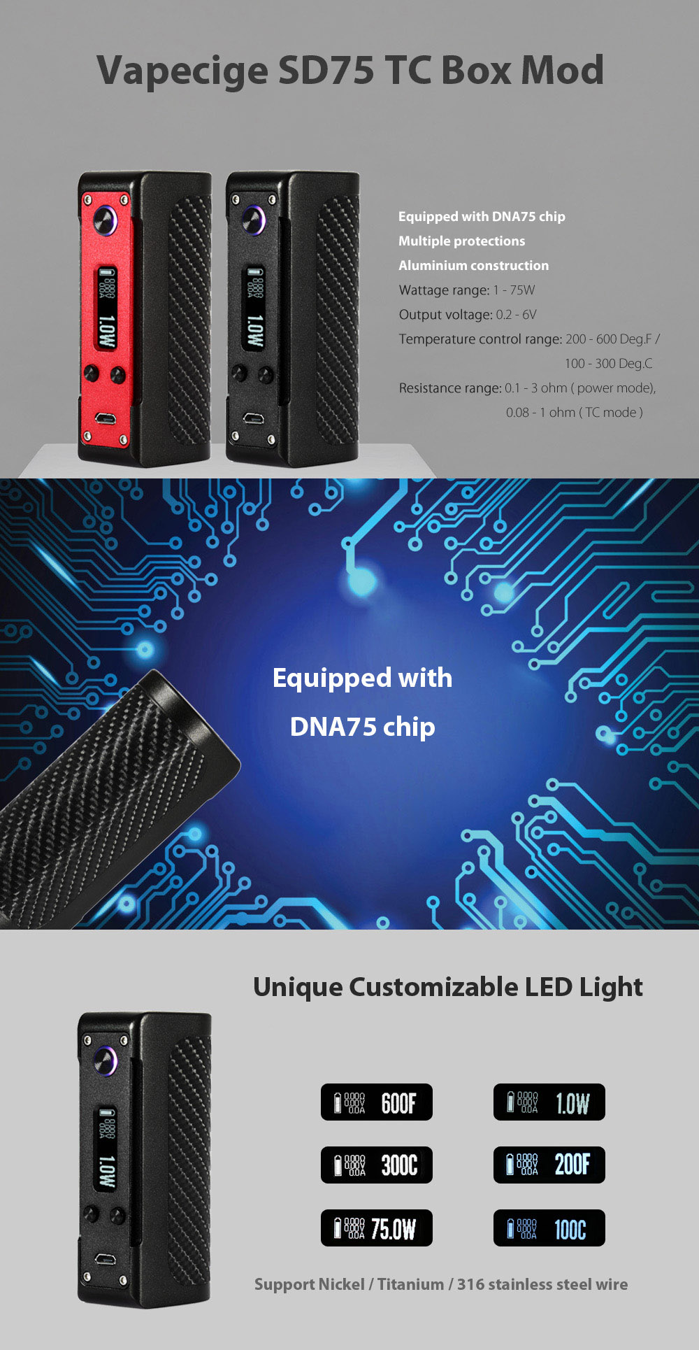Original Vapecige SD75 TC Box Mod with DNA75 Chip / Customizable LED Light / 1 - 75W / 200 - 600F / 18650 / 26650 Battery Supportive for E Cigarette