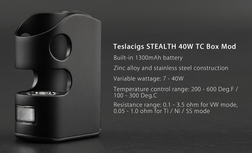 Original Teslacigs STEALTH 40W TC Box Mod with Atomizer Embedded Structure / Built-in 1300mAh Battery / 200 - 600F / Mini Size for E Cigarette
