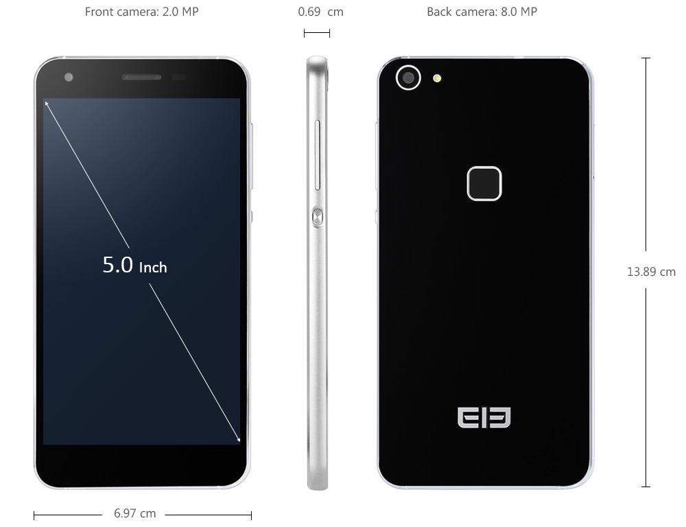 Elephone S1 Android 5.1 5.0 inch 3G Smartphone MTK6580 Quad Core 1.3GHz 1GB RAM 8GB ROM Fingerprint Scanner Double-sided Glass