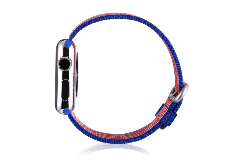 Colorful Bar Pattern Nylon Watchband for Apple Watch 42mm Ultra-thin Strap Wristband Replacement