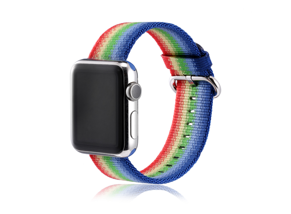 Colorful Pattern Nylon Watchband for Apple Watch 42mm Ultra-thin Strap Wristband Replacement
