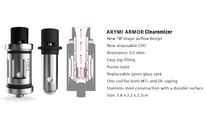 Original ARYMI ARMOR Clearomizer with New Airflow Design / New Disposable CHC / 3ml Capacity for E Cigarette