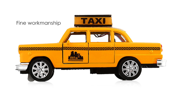 1 / 32 Alloy + Plastic Model Taxi Pullback Car Toy with Music Light