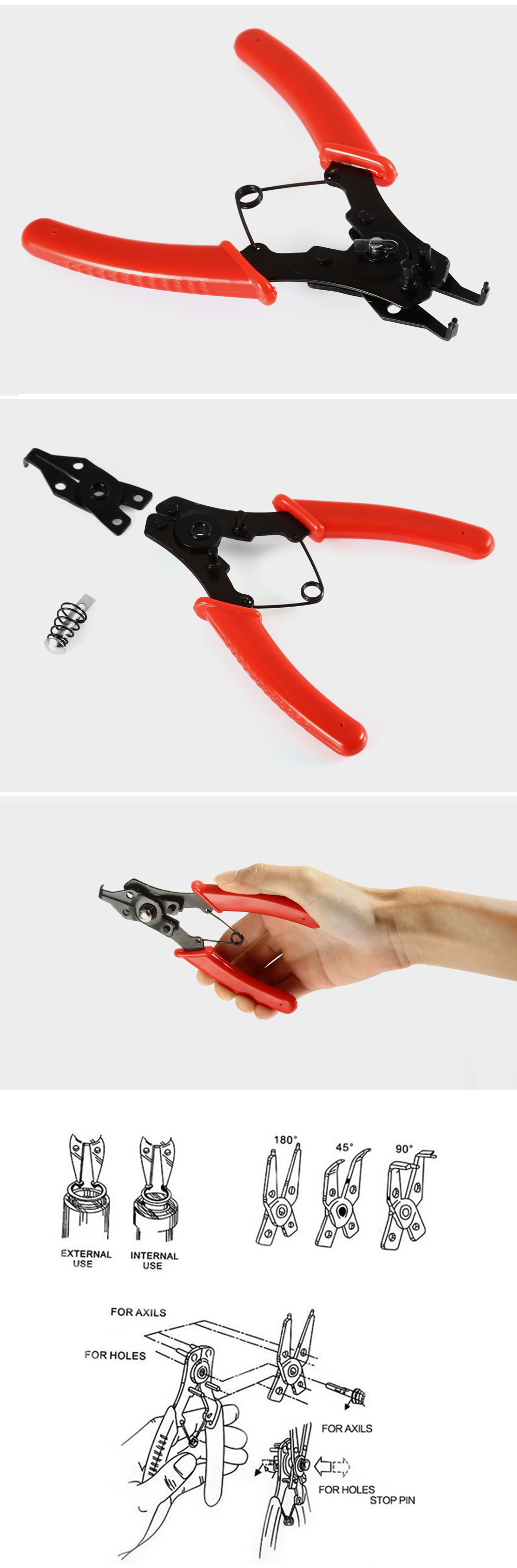 D - 4  4 in 1 Multifunctional Carbon Steel Snap Ring Pliers